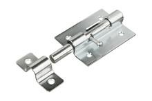 Stainless Steel Door Latch Isolated On White Background. Bolt Latch. Door Lock. Slide Bolt.