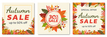Autumn Sale Banner Set With Fall Leaves. Square Floral Backgrounds With Foliage Frame. Promotion Poster, Social Media Post, Discount Card Or Flyer Design Template. Vector Illustration.