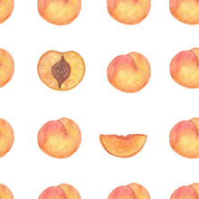 Seamless Pattern Round Peaches On White Background