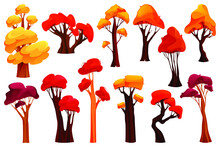 Colorful Autumn Trees, Simple Flat Design, Icon Set. Cartoon Fall Tree With Golden Leaves For Banner Or Card Decoration And Background Landscapes. Garden, Forest Or Park Yellow Plant Trees.