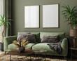 Leinwandbild Motiv Poster mockup in home interior with green sofa, table and decor, 3d render