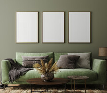 Poster Mockup In Home Interior With Green Sofa, Table And Decor, 3d Render