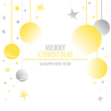 Christmas Greeting Card Scribble Drawing Text Stars Golden Black White Background