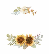 Watercolor Vector Autumn Wreath With Sunflower, Leaves And Branches.