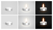 Set Of Realistic Candles In A Case. Tea Lights. Unlit, Burning On A Light And Dark Background. Candle Icon Set Closeup Isolated On A Transparency Grid Background. Design Template. Realistic 3d Vector