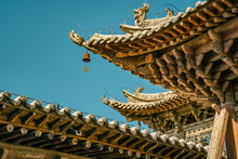 The Detail View Of The Wooden Roof Of Ancient Chinese Architecture In Dafo Temple, Zhangye, China.