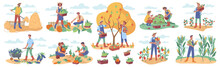 Harvesting Season In Farms And Agriculture. People Gathering And Collecting Ripe Vegetables And Fruits With Berries. Farmers And Workers In Rural Area. Cartoon Character In Flat Style Vector