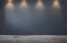 Dark Gray Wall With A Row Of Spotlights In An Empty Room