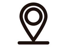 Icono Negro De Marcador De Mapa En Fondo Blanco.