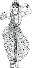 Indian Wedding Clip Art Of A Woman Dancing Of Indian Traditional Dance Kathak Black And White Clip Art Illustration Line Drawing. Indian Wedding Symbol Of Dancing Bride Black And White.