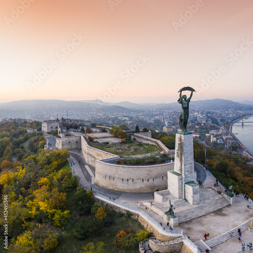 Aerial view of Budapest with sunrise