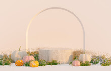 Autumn Scene With Product Stand And Pumpkins. 3d Rendering Background.