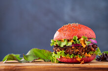 Veggie Burger On A Beet Infused Bun With Copy Space