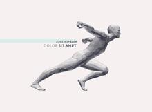 Running Man Or Marathon Runner. 3D Human Body Model. Design For Sport. Vector Illustration Composed Of Particles.