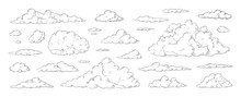 Clouds Sketch. Vintage Hand Drawn Sky Background With Large And Small Detailed Cloudy Shapes. Retro Pencil Drawing. Isolated Monochrome Cloudscape Elements Set. Vector Engraving Heaven