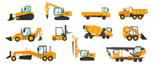 Industrial Vehicles. Cartoon Construction Trucks And Heavy Machinery. Bulldozer And Excavator. Building Crane Or Loader. Cargo Lorry. Vector Earthwork Machines And Work Automobiles Set