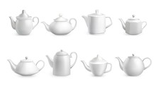 Realistic Teapots. White Porcelain Dishes With Cups And Nose For Tea Ceremony. Utensil For Morning Drink. Ceramic Crockery Collection. Various Shapes Of Tableware. Vector Dinnerware Set