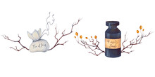 Watercolor Hand Drawn Halloween Illustration With Poison In A Flask, Bag With Toe Of Frog, Pumpkin Seeds, Branch, Autumn Leaves, Orange Hawthorn Berries Isolated On White Background.