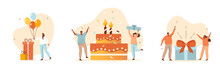 People Celebrating Birthday Party. Characters Standing Near Birthday Cake, Gifts And Holding Balloons. Happy Birthday Concept. Flat Cartoon Vector Illustration And Icon Set.