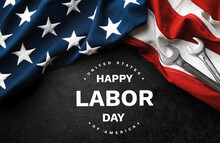 Happy Labor Day.  American Flag On Black Background