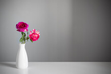 Two Roses In  Vase On Gray Background