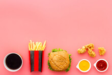 Layout Of Junk Food - French Fries Burger And Chicken Nuggets