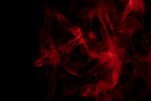 Abstract Red Smoke  On A Black Background.  The Steam Generator. The Concept Of Poison Gas.