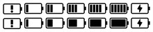 Battery Capacity Charge Icon Symbols, Vector Illustration