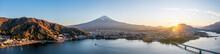 Aerial View Of Mount Fuji And Lake Kawaguchiko