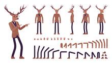 Deer Man, Elegant Mister Moose, Animal Head Human Construction Set. Dressed Up Gentleman Having Large, Horns, Antlers, Wearing Glasses. Cartoon Flat Style Infographic Illustration, Different Gestures