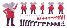 Elephant Man, Elegant Mister, Animal Head Human Construction Set. Dressed Up Gentleman Having Large Trunk, Ivory Tusks, Wearing Jacket. Cartoon Flat Style Infographic Illustration, Different Gestures