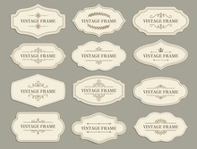 Vintage Retro Borders And Frames, Vector Paper Labels With Flourishes For Scrapbooking Or Invitation Design. Scrapbook Decoration Elements, Tags Or Stickers For Text Notes Or Messages Isolated Set