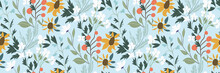 Fresh Floral Pattern With Wildflowers On A Light Blue Background. Vector Seamless Pattern In A Hand-drawn Style. A Set Of Flowers And Herbs Scattered Randomly. Perfect Prints, Fabrics, Covers...