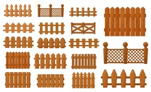 Garden And Farm Cartoon Wooden Fence, Vector Palisade Gates, Balustrade With Pickets. Enclosure Railing, Banister Or Fencing Sections With Decorative Pillars. Wood Border Panels Isolated Elements Set