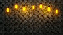 Dark Metal Diamond Plates Illuminated By Lamps Background. 3d Rendering