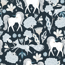 Seamless Bohemian Style Pattern With Hand Drawn Unicorn, Fox, Stars Bunny And Flowers. Vector Illustration