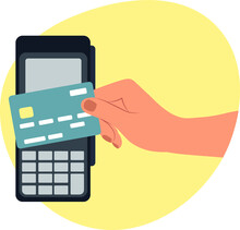 Hand Drawn Sketch Vector Illustration Contactless Payment Online Wallet Credit Card Apple Pay Visa Electron By Electronic Money And Terminal
