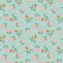 Abstract Seamless Pattern. Floral Background. Ethnic Fabric With Multi Colored Flowers