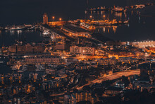 View Of The Cape Town Harbour At Night, With Beautiful Shining Lights