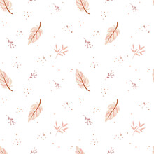 Lovely Seamless Pattern In Boho Style. Pink Feathers And Floral Elements On The Whitebackground. Tribal Feather Cartoon Illustration. Indian Ethnic Ornament. Cute Scandinavian Kids Print.