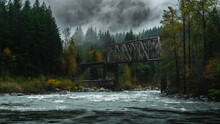 Foggy Mountain River With Train Bridge