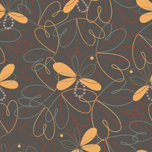 Seamless Pattern On A Brown Background Hearts And Flowers, Drawings Are Made With Lines, Some Petals Are Painted Over, For Bed Linen, Fabrics For Clothes, Covers, Cards, Backgrounds