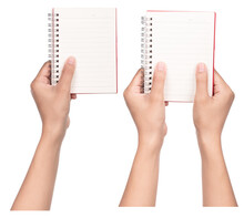 Set Of Hand Holding Note Book Isolated On A White Background