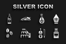 Set Coliseum In Rome, Pope Hat, Perfume, Violin, Coffee Beans, Mandolin, Bottle Wine And Sport Racing Car Icon. Vector