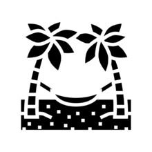 Hammock Between Palm Trees Glyph Icon Vector. Hammock Between Palm Trees Sign. Isolated Contour Symbol Black Illustration