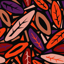 Seamless Autumn Leaves Pattern,trendy Print In Collage Cut Out, Carve Style.Hand Drawn Doodle Texture. Perfect For Invitations, Posters, Banners,fabric, Textile ,gift Wrap, Greeting Card,aparel Design