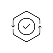 Cash Flow Thin Line Icon With Checkmark