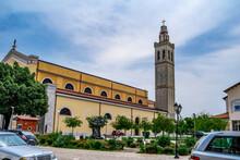 Shkoder, Albania - June 21, 2021: Pope John Paul II Square In Shkoder. Garden Around St Stephen's Catholic Church On A City Street