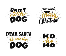 The Set Of Winter Quote About Merry Christmas And Love Dog. The Retro Phrase And Saying Is Good For Holiday Designs. The Vintage Text With Rays Is A Vector Illustration