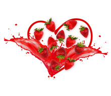 Strawberry Heart Shape With Splashing Juice On Two Sides Of The Heart, Fresh Juice, Creative Concept, Label Design
